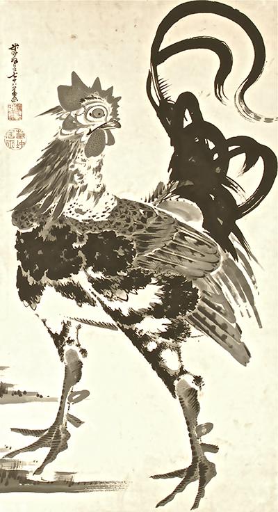 伊藤若冲 庭鳥図双幅 雄鶏 米斗翁七十八歳画