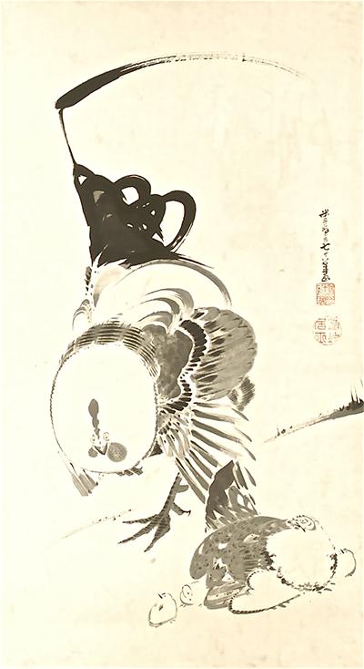 伊藤若冲 庭鳥図双幅 雌鳥 米斗翁七十八歳画